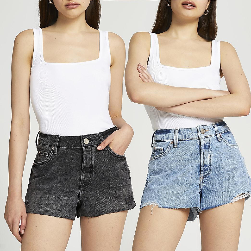 Denim mid rise multipack shorts