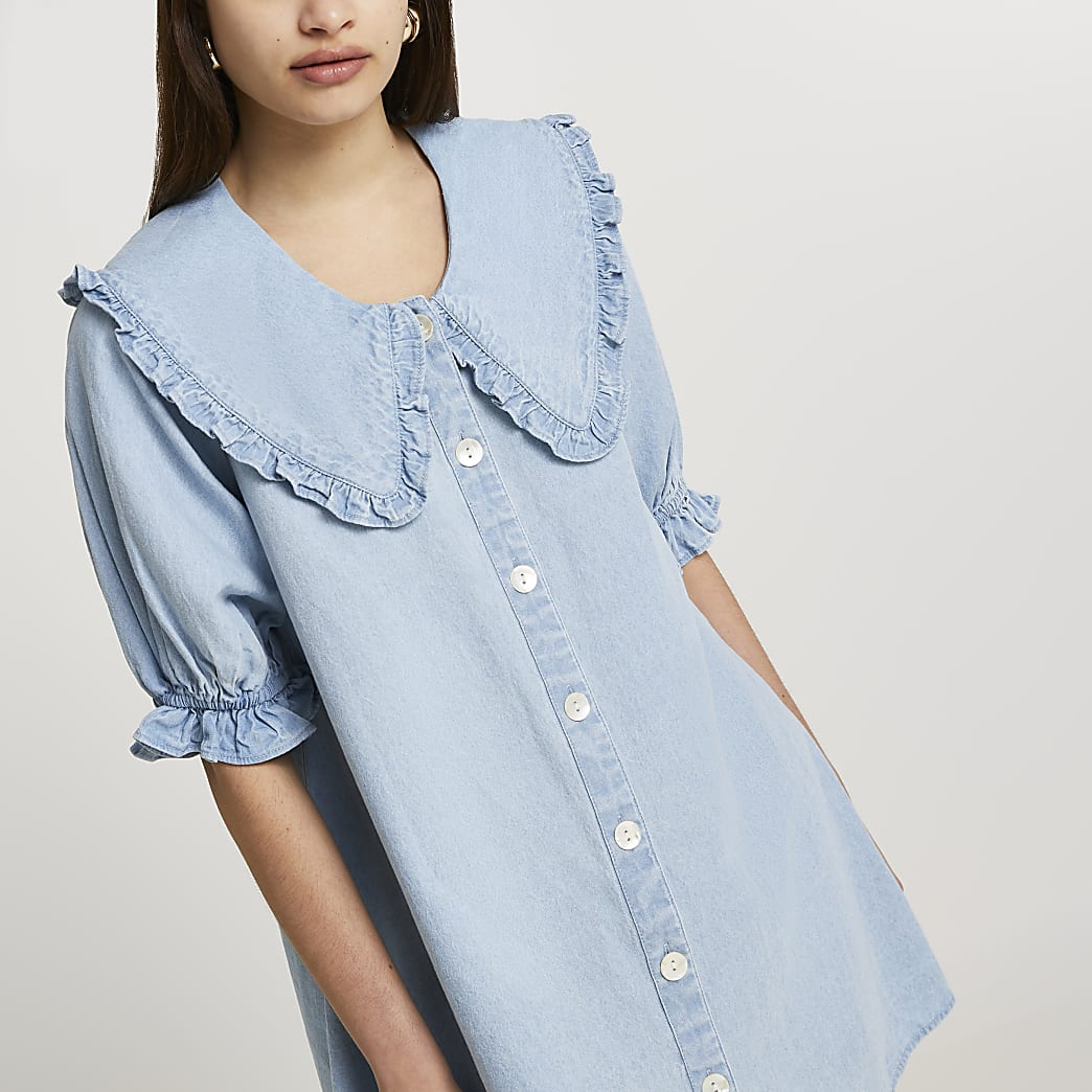 Denim oversized collar shift dress