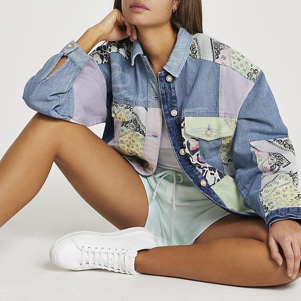 Denim patchwork jacket