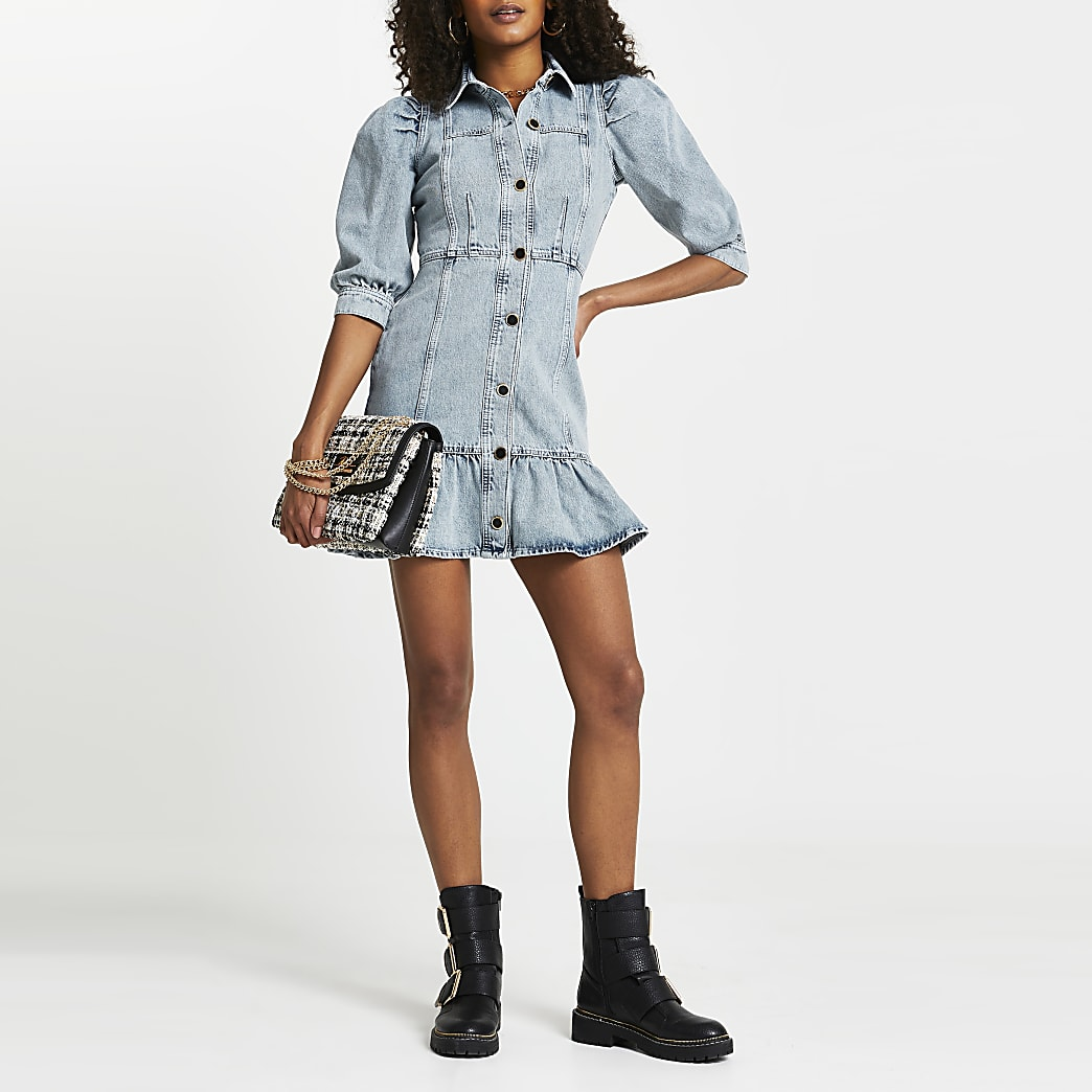Denim peplum hem shirt dress