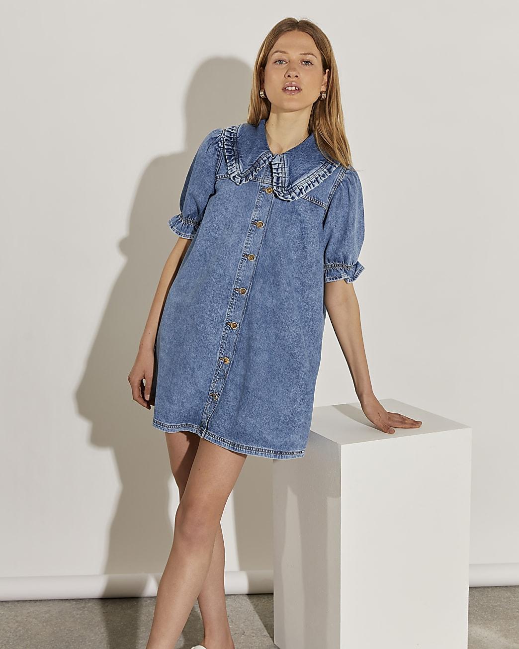 Denim puff sleeve collared shirt dress