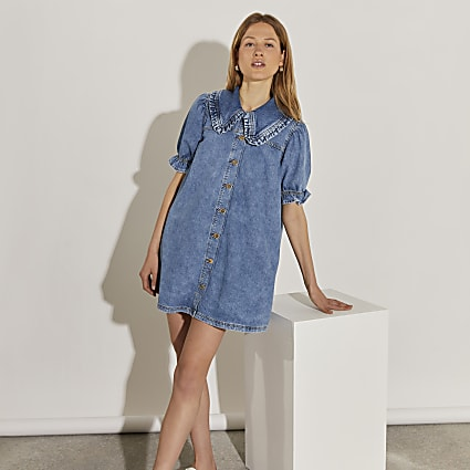 Denim puff sleeve collared shirt dress