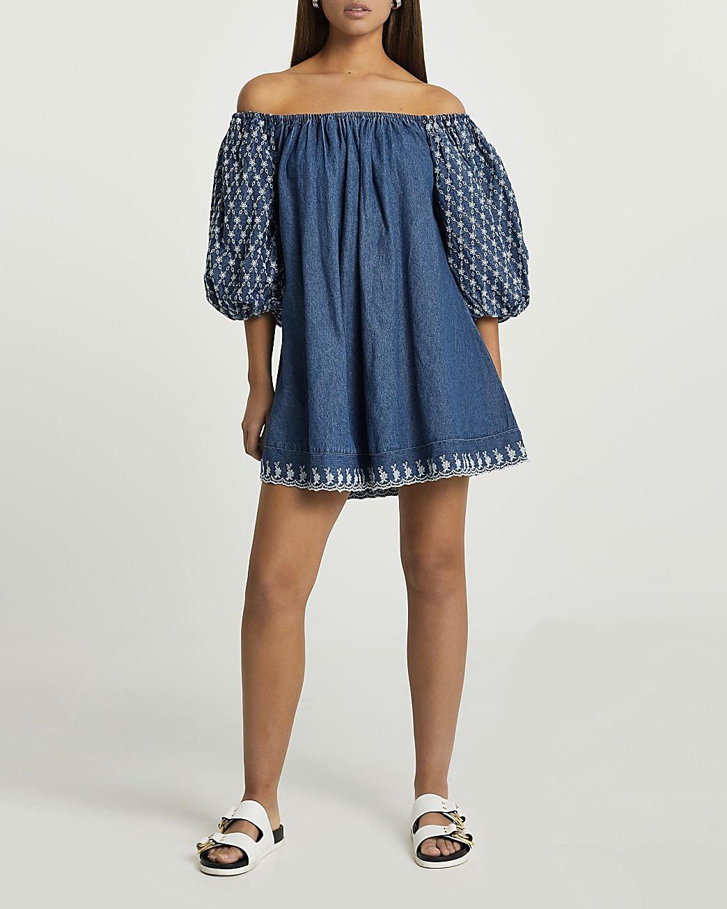 Denim puff sleeve embroidered bardot dress