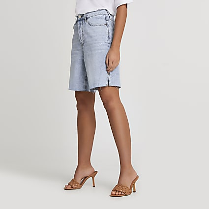 Denim raw hem shorts