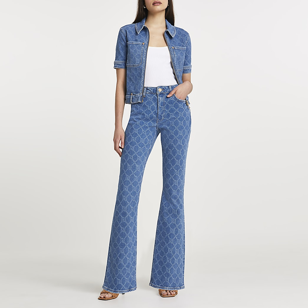 Denim RI monogram mid rise flared jeans