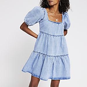 Denim short sleeve smock tiered dress