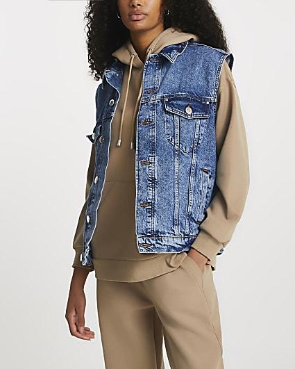 Denim sleeveless gilet jacket