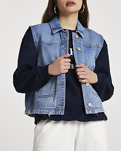 Denim sleeveless trucker jacket