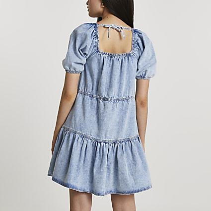 Denim tie back smock dress
