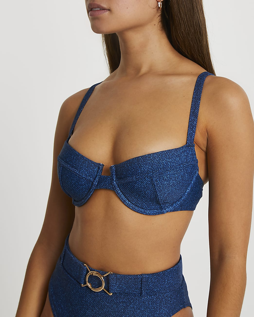 Denim underwire bikini top
