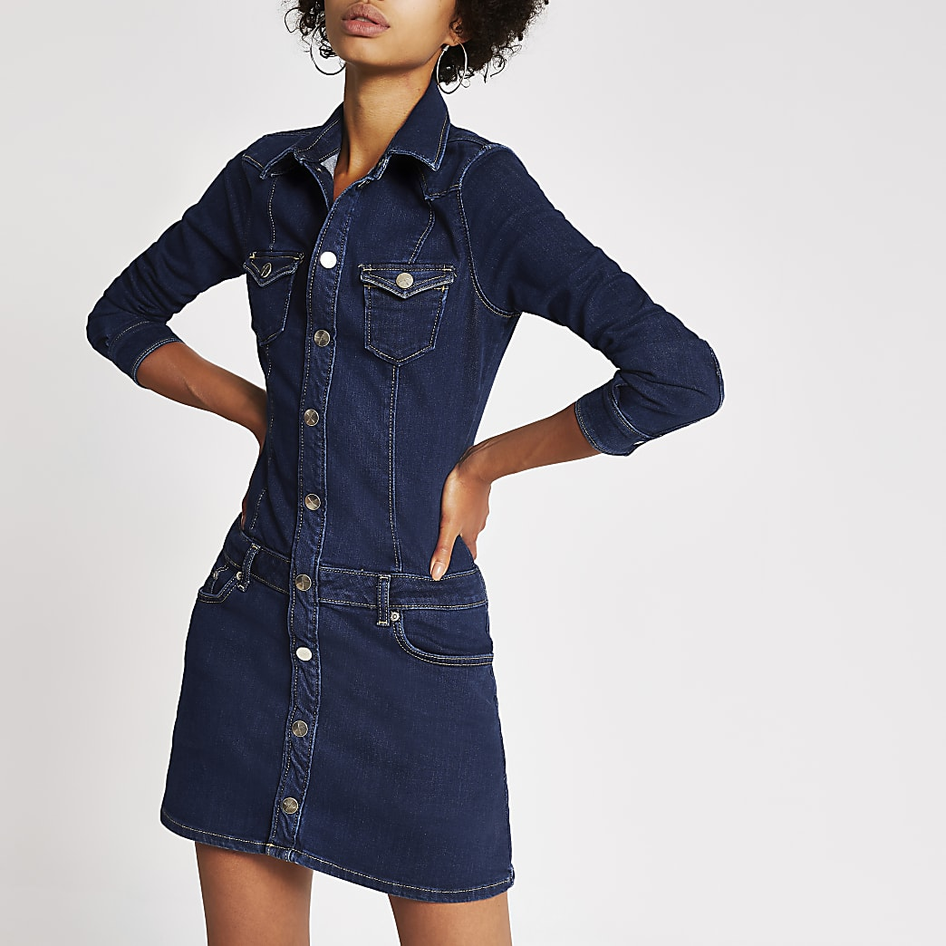 Dua Lipa x Pepe Jeans dark blue denim dress