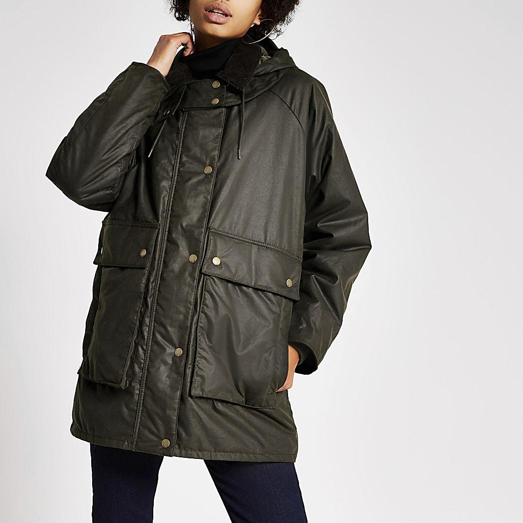 Dua Lipa x Pepe Jeans khaki wax jacket