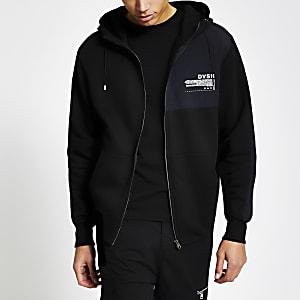 DVSN - Zwarte hoodiemet rits voor en kleurvlakken