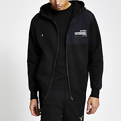 DVSN black colour blocked zip front hoodie