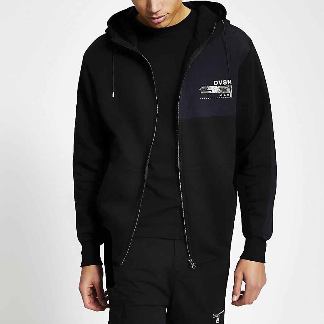 DVSN black colour blocked zip front hoodie