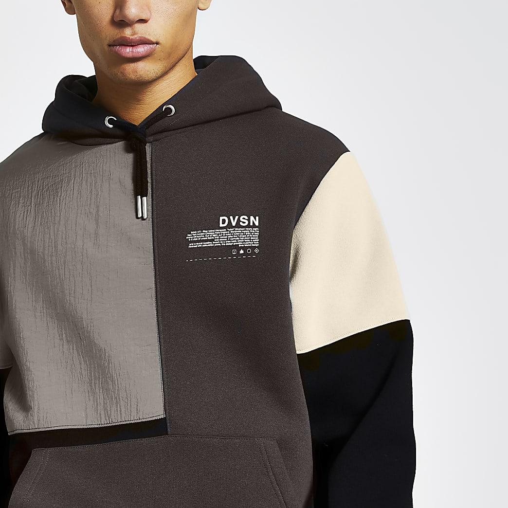 DVSN black nylon colour block hoodie