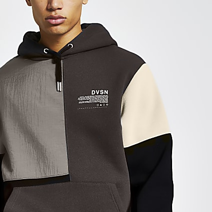 DVSN black nylon colour blocked hoodie