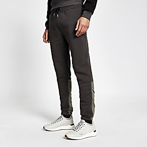 DVSN black nylon colour blocked joggers