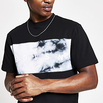 DVSN black tie dye slim fit T-shirt