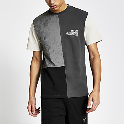 DVSN grey colour blocked slim fit t-shirt