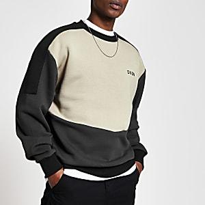 DVSN - Kiezelkleurige regular fit sweater met kleurvlakken
