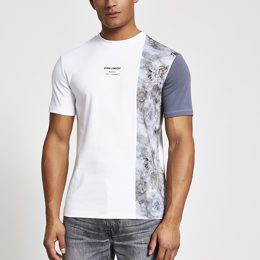 DVSN white colour blocked slim fit T-shirt
