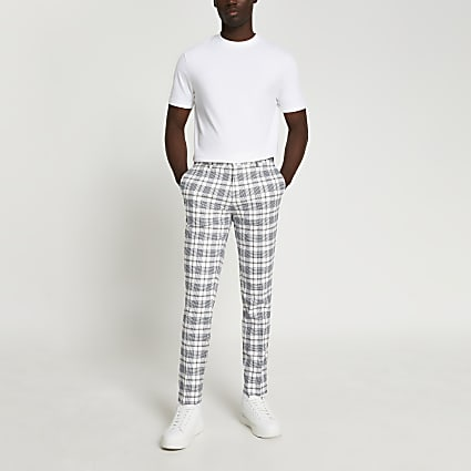 Ecru & navy check super skinny fit trousers