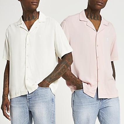 Ecru & pink short sleeve revere shirt 2 pack