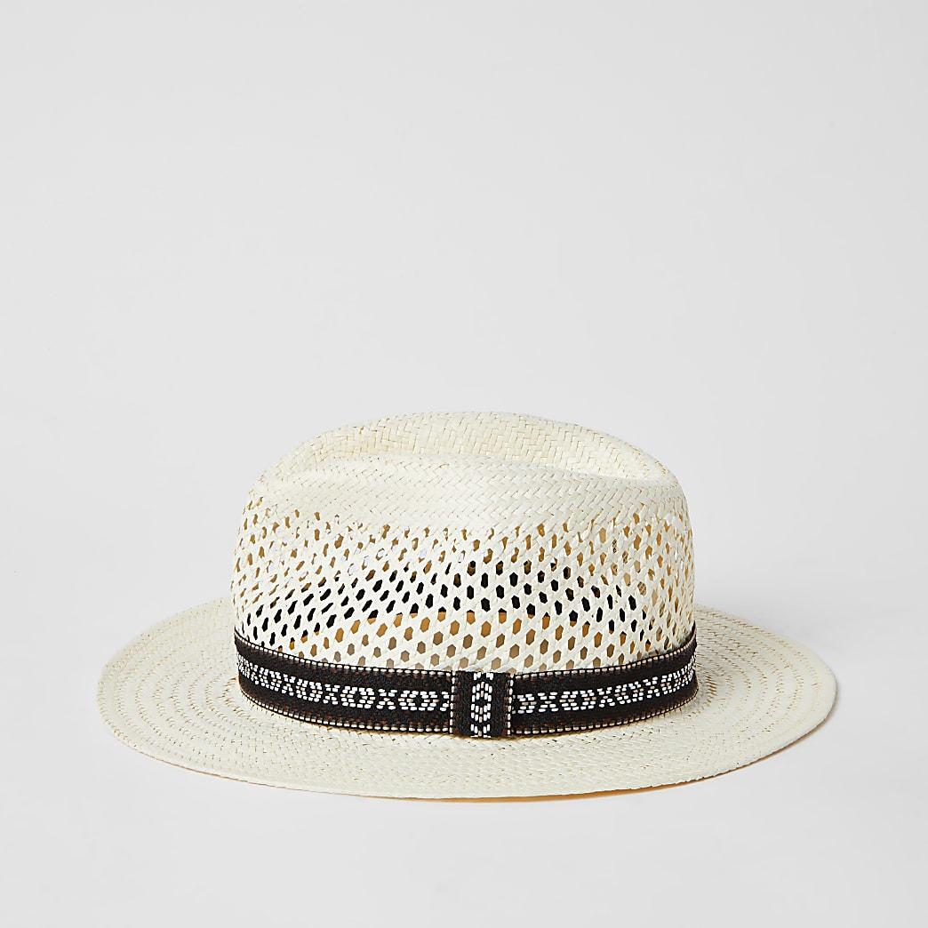 Chapeau de paille avec gallon imprimé aztèque écru
