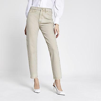 Ecru Blair high rise straight jeans