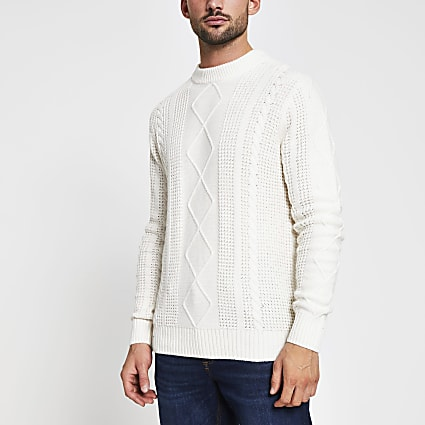Ecru cable knit slim fit jumper