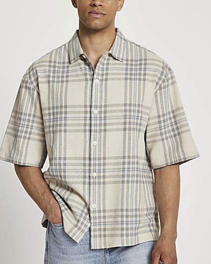 Ecru check boxy fit short sleeve shirt
