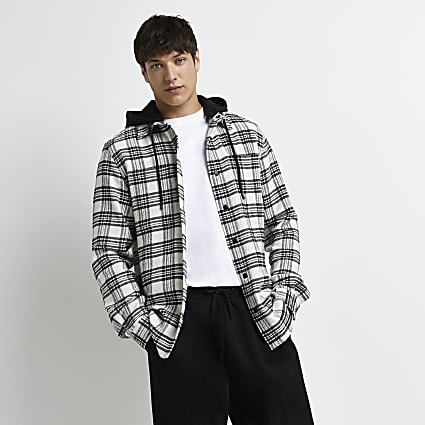 Ecru check detachable hood shacket