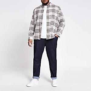 Ecru check long sleeve Big and Tall shirt