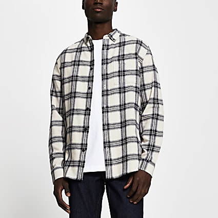 Ecru check long sleeve regular fit shirt