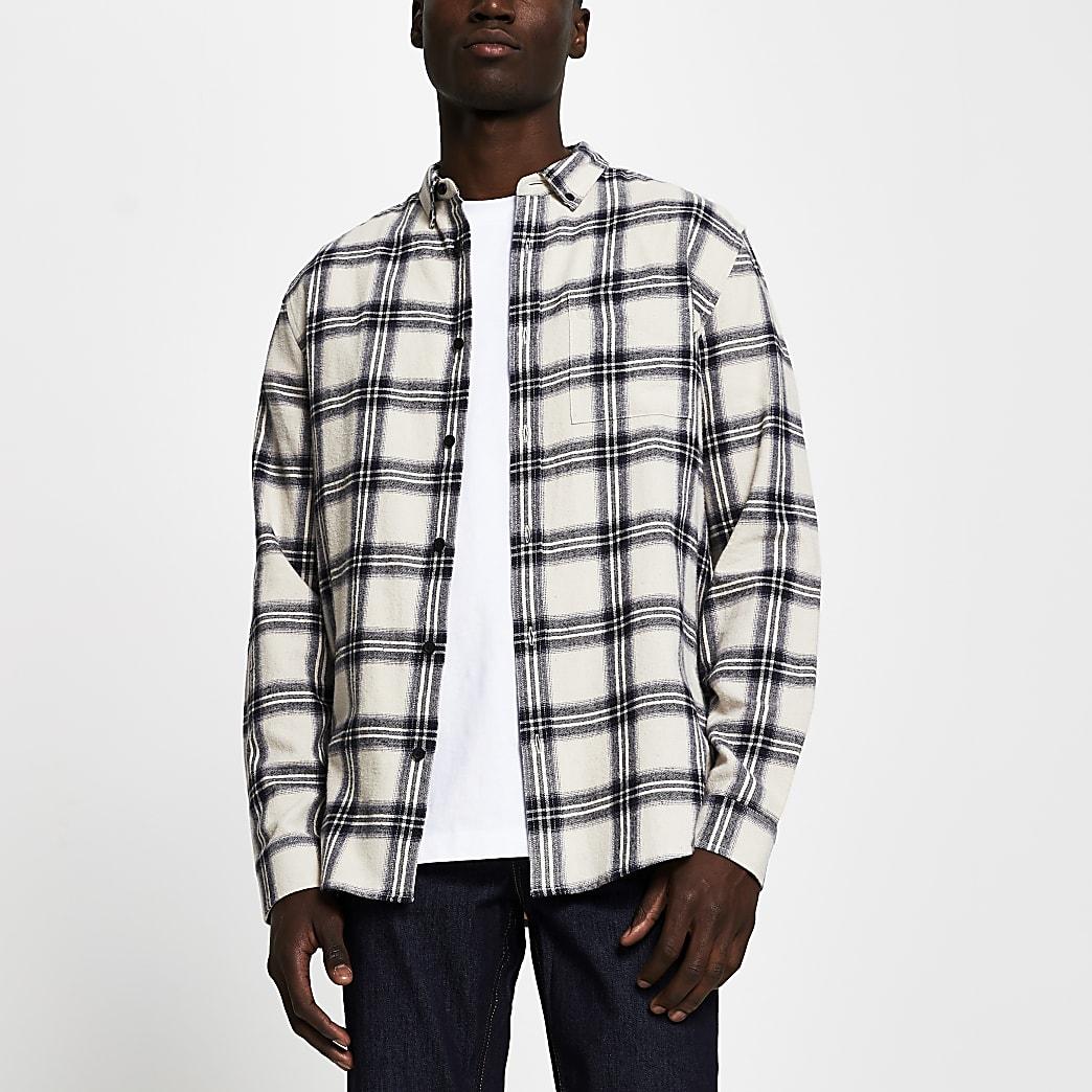 Ecru check long sleeve regular fit shirt