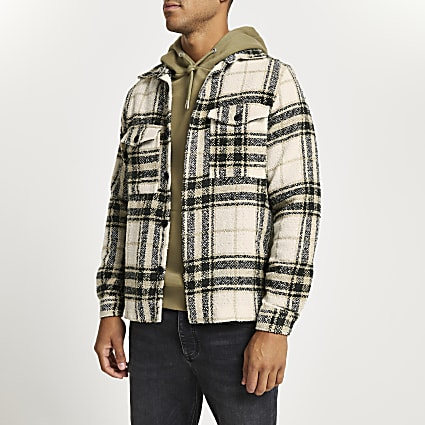 Ecru check long sleeve shacket