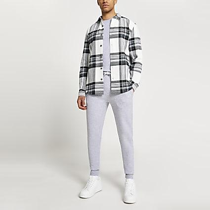 Ecru check long sleeve shirt