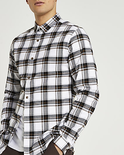 Ecru check muscle fit long sleeve shirt