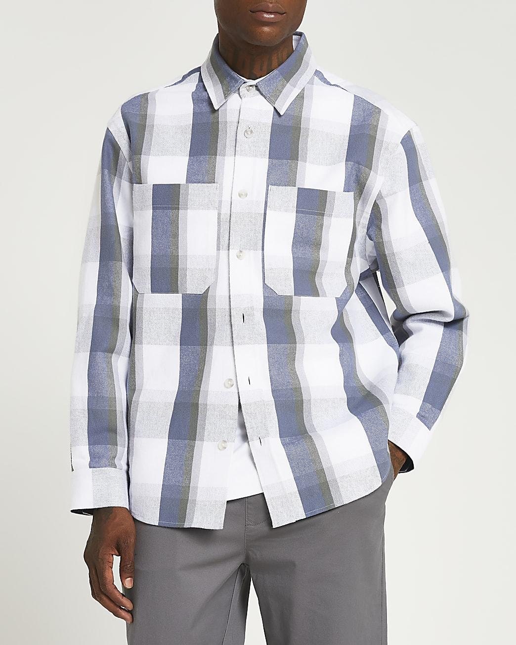 Ecru check oversized fit long sleeve shirt