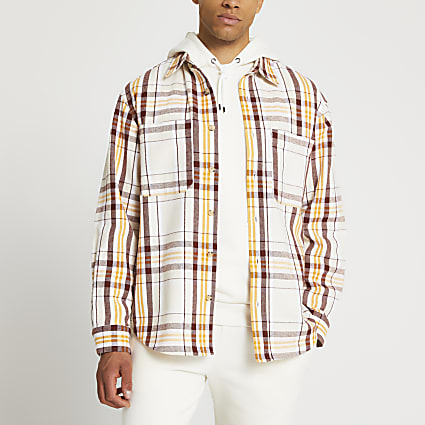 Ecru check oversized shacket