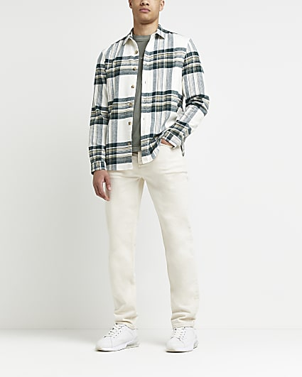 Ecru check print regular fit shirt
