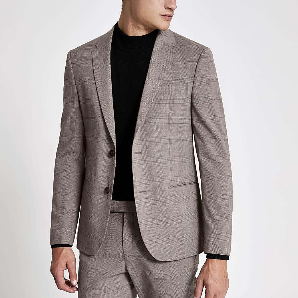 Ecru check stretch skinny suit jacket