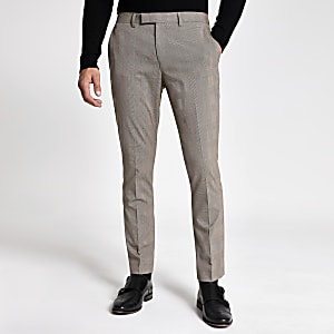 Skinny Fit Stretch-Anzughose mit Karomuster in Ecru
