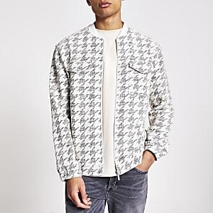 Ecru check textured bomber jacket