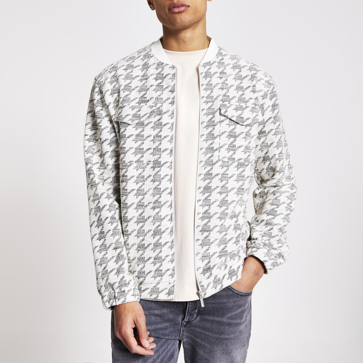 Ecru check textured bomber jacket