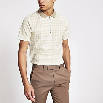 Ecru check textured half zip polo top