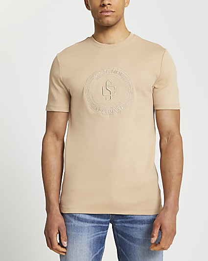 Ecru chest embroidery slim fit t-shirt