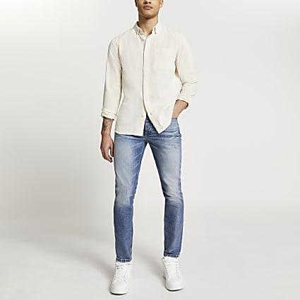 Ecru cotton textured long sleeve shirt