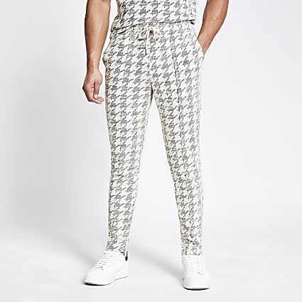Ecru dogtooth check textured slim fit joggers